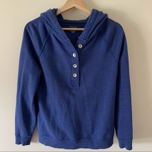 Sonoma Blue Cotton Hooded 3/4 Button Up Sweater XS